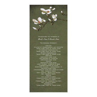 Green and White Magnolia Wedding Program