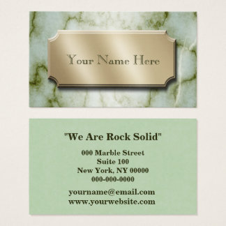 Green and White Marble Business Card