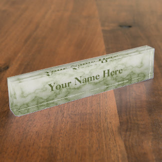 Green and White Marble Desk Name Plate