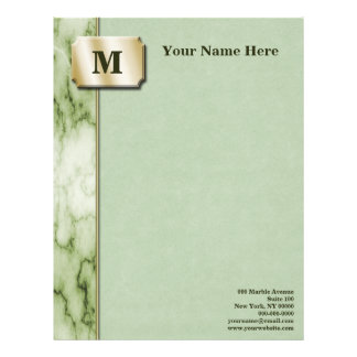 Green and White Marble Letterhead