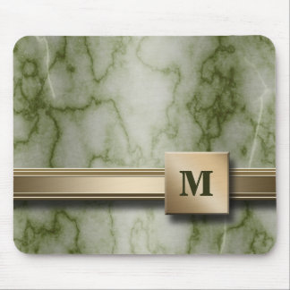 Green and White Marble Mouse Pad
