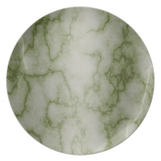 Green and White Marble Plate