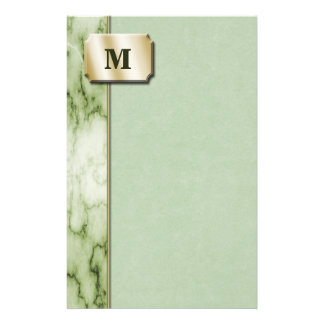 Green and White Marble Stationery