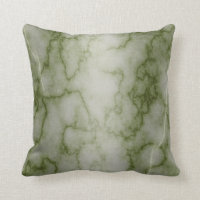 Green and White Marble Throw Pillow