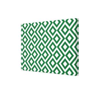 Green and White Meander Canvas Prints