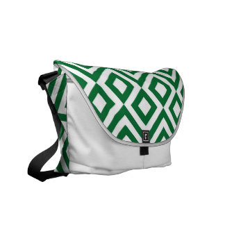 Green and White Meander Courier Bags