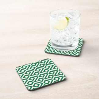 Green and White Meander Drink Coaster
