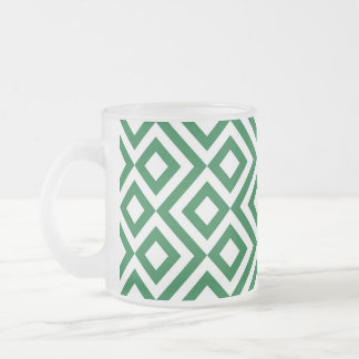 Green and White Meander Frosted Glass Coffee Mug