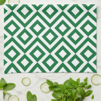 Green and White Meander Hand Towels