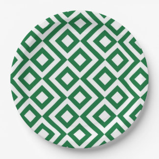 Green and White Meander Paper Plate