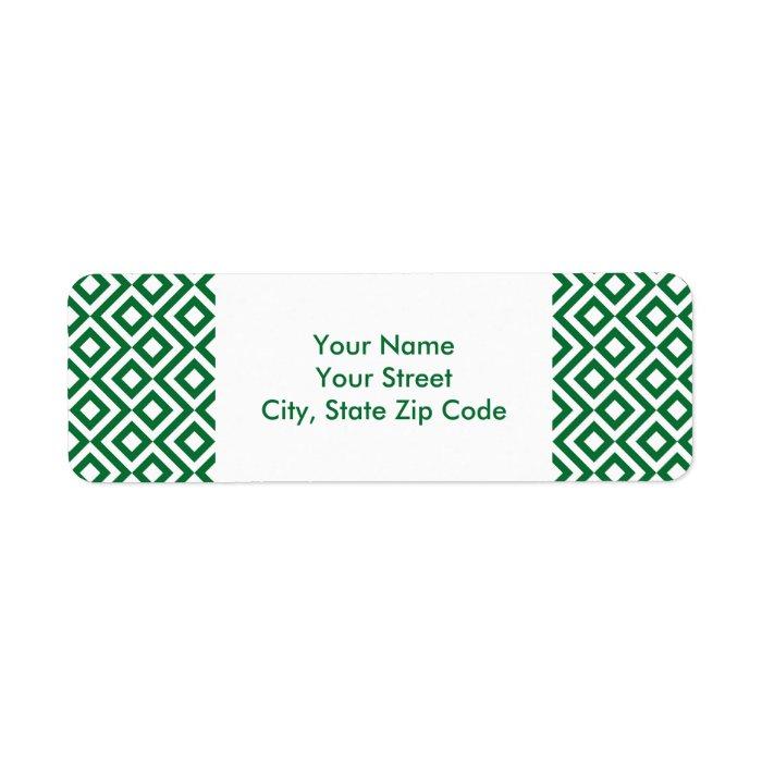 Green and White Meander return address label