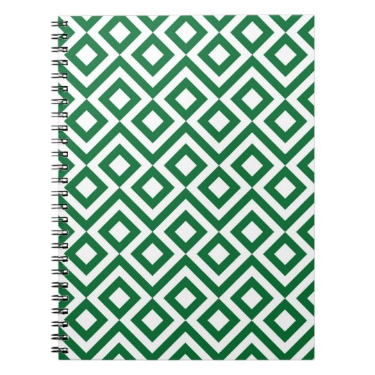 Green and White Meander Spiral Notebook