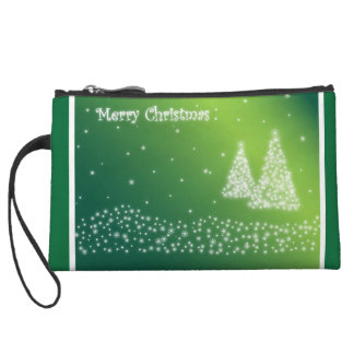 Green and White Merry Christmas Clutch Wristlet Clutches