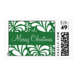 Green and White Merry Christmas Fern Flora Postage