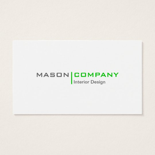 Green and White Minimalistic Business Card