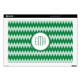 Green And White Monogram Chevron Geometric Pattern Laptop Skins