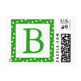 Green and White Monogrammed Postage Stamps - dots Postage Stamp