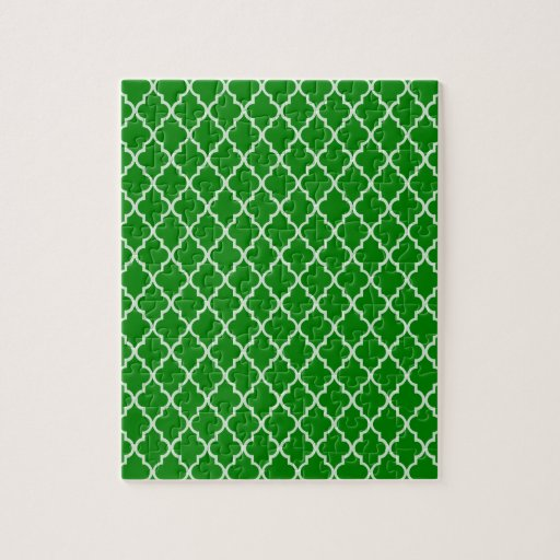 Green And White Moroccan Trellis Pattern Puzzles