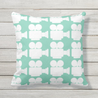GREEN AND WHITE MOVIE CAMERA MOTIF OUTDOOR PILLOW