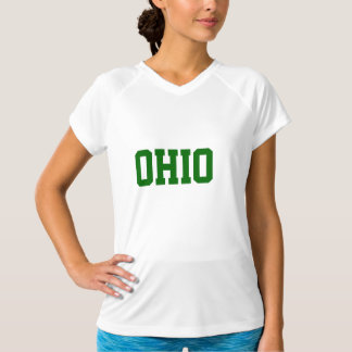 Green and White OHIO Text Sports Shirt