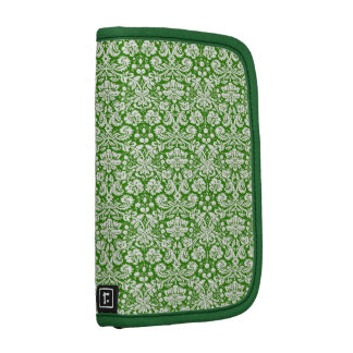 Green and White Ornate Damask Planner