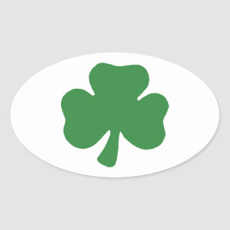 Green and white oval shamrock stickers oval sticker