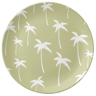 Green and White Palm Trees Porcelain Plate