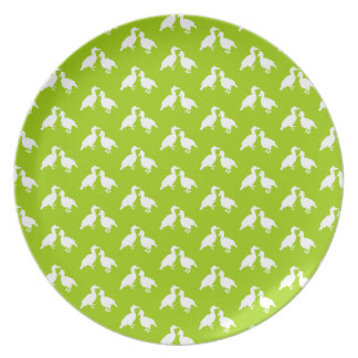 Green and White Pattern of Birds. Plates