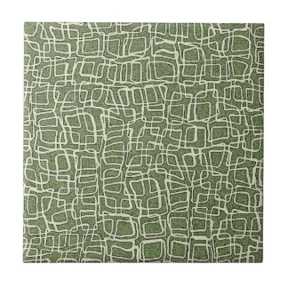 GREEN AND WHITE PATTERN SMALL SQUARE TILE