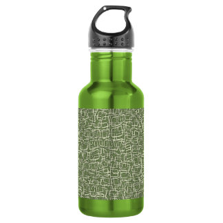 GREEN AND WHITE PATTERN WATER BOTTLE