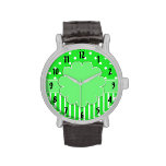 Green and White Patterned Watch