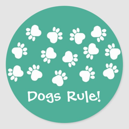 Green and White Paw Prints Sticker