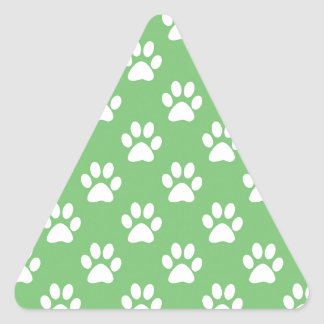 Green and white paws pattern triangle sticker