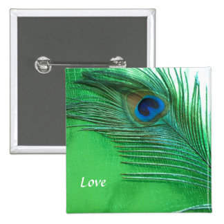 Green and White Peacock Feather Still Life Pinback Button