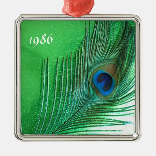 Green and White Peacock Feather Still Life Metal Ornament