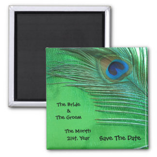 Green and White Peacock Wedding Magnets