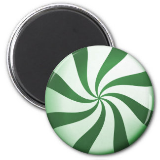 Green and White Peppermint Candy Magnet