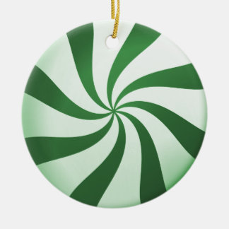 Green and White Peppermint Candy Ornament