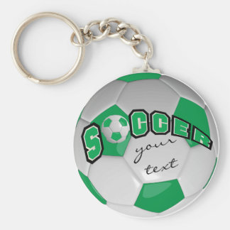 Green and White Personalize Soccer Ball Basic Round Button Keychain