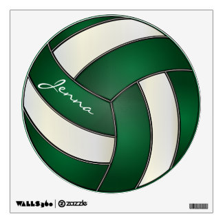 Green and White Personalize Volleyball Wall Sticker