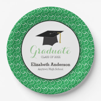 Green and White, Personalized Graduation Paper Plate