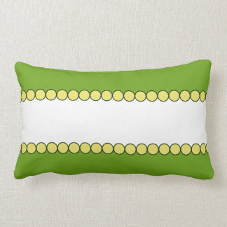 Green and White Pillow with Yellow Bead Border