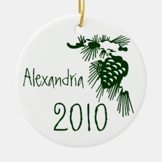 Green and white Pinecone Customizable Ornament