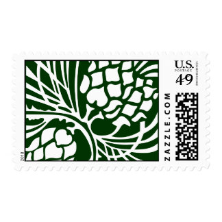 Green and White Pinecone Postage