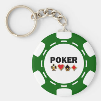 GREEN AND WHITE POKER CHIP KEYCHAIN