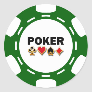 GREEN AND WHITE POKER CHIP ROUND STICKERS