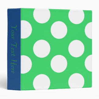 Green and White Polka Dot 3-Ring Binder