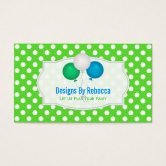 Green And White Polka-dot: Balloons Business Cards