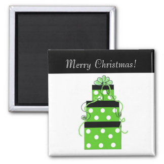 Green and White Polka Dot Boxes 2 Inch Square Magnet