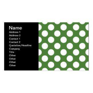 Green and White Polka Dot Business Card